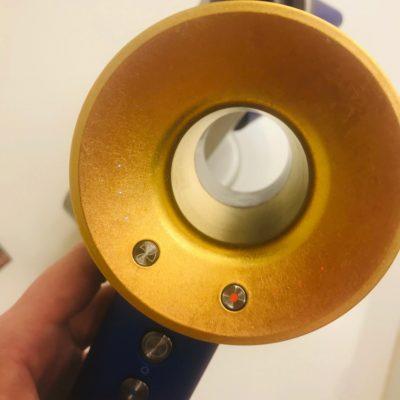 ダイソンの金箔ドライヤーパワー調整部分ボタン